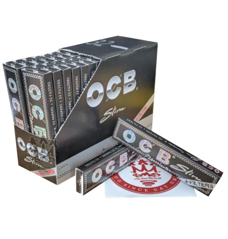 OCB Premium Black With Filters King Size Slim Connoisseur smoking rolling papers